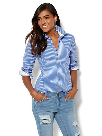7th Avenue Design Studio - Striped Shirt - Sporty Blue - Petite - New York & Company