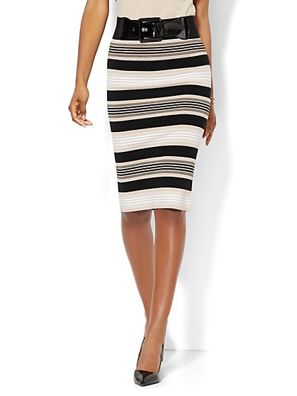 7th Avenue Design Studio - Striped Sweater Skirt  - New York & Company