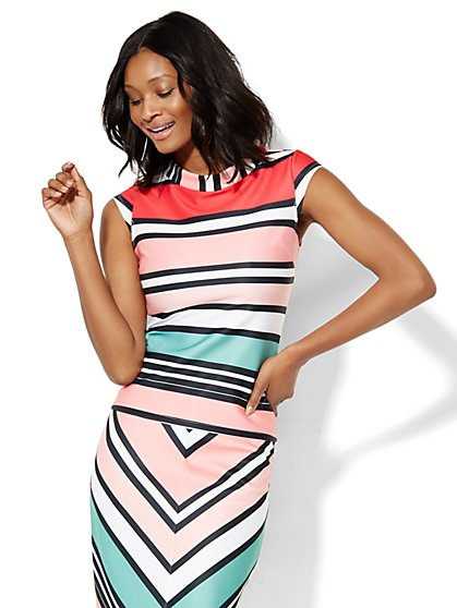 7th Avenue Design Studio - Striped Top  - New York & Company