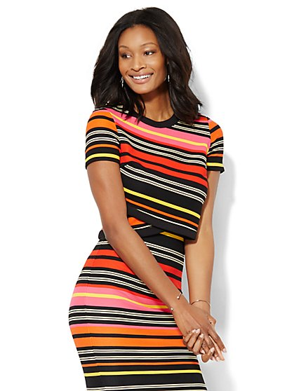 7th Avenue Design Studio - Striped Wrap-Front Top - New York & Company