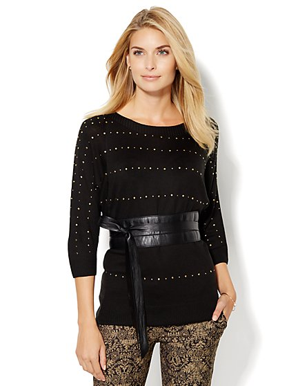 7th Avenue Design Studio - Studded Tunic Sweater  - New York & Company