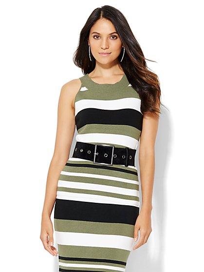 7th Avenue Design Studio - Sweater Halter Top - Stripe  - New York & Company