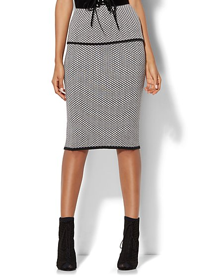 7th Avenue Design Studio - Sweater Pencil Skirt - Black & White   - New York & Company