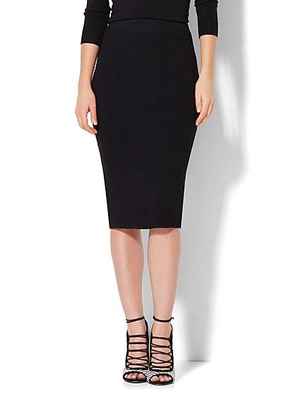 7th Avenue Design Studio - Sweater Pencil Skirt - Black  - New York & Company