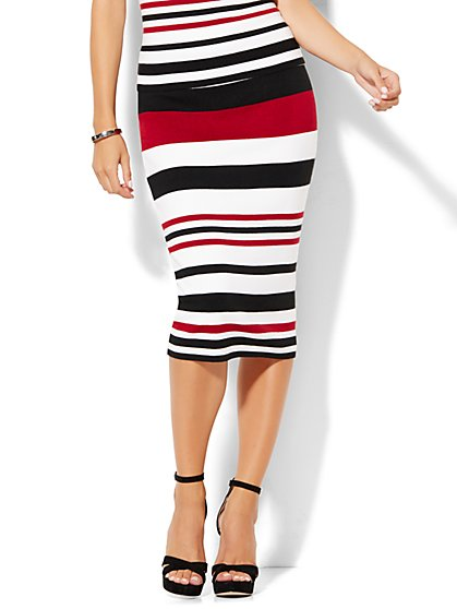 7th Avenue Design Studio - Sweater Pencil Skirt - Dark Red Stripe  - New York & Company