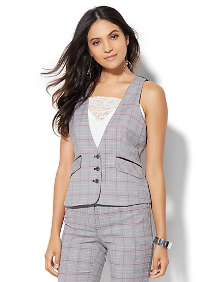 7th Avenue Design Studio - Three-Button Vest - Black Plaid  - New York & Company