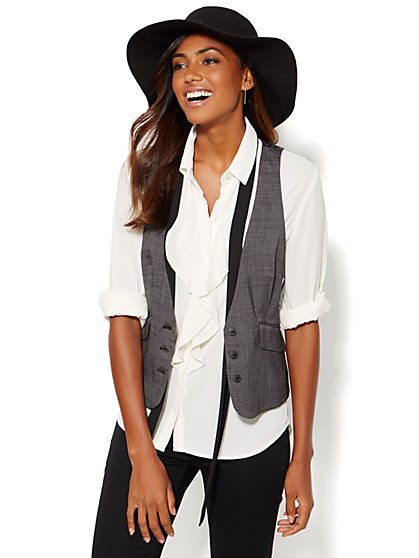 7th Avenue Design Studio Three-Button Vest - Signature Fit - Black Check - New York & Company