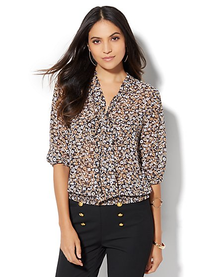 7th Avenue Design Studio - Tie-Front Blouse - Floral  - New York & Company