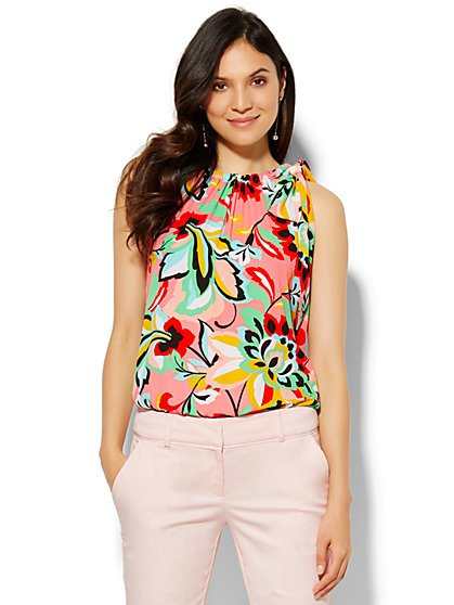 7th Avenue Design Studio - Tie-Front Halter Blouse - Print  - New York & Company