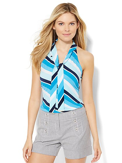 7th Avenue Design Studio - Tie-Front Halter Shell - Stripe  - New York & Company