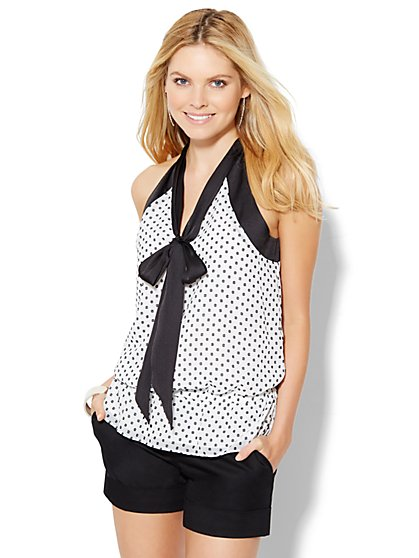 7th Avenue Design Studio - Tie-Front Ruffled Halter Blouse  - New York & Company