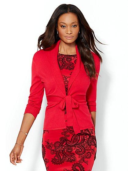 7th Avenue Design Studio - Tie-Front Shawl Collar Cardigan  - New York & Company