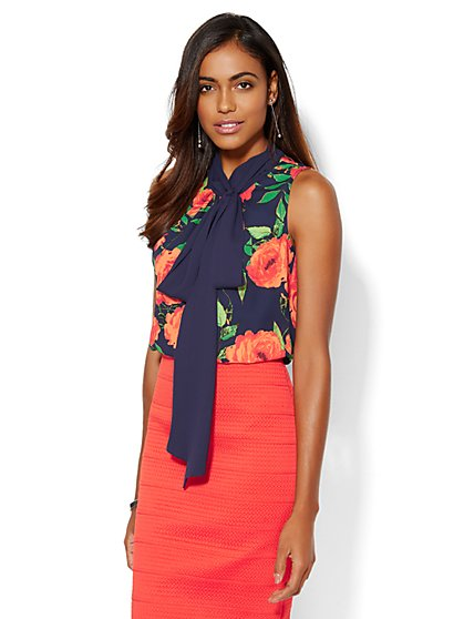7th Avenue Design Studio - Tie-Front Shell - Floral  - New York & Company