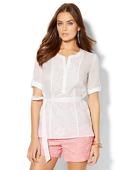 7th Avenue Design Studio - Tie-Front Tunic Shirt  - New York & Company