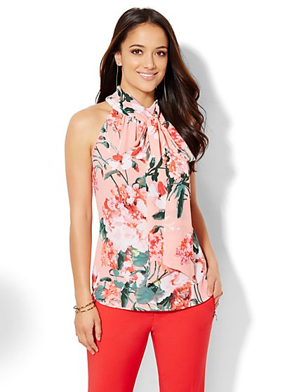 7th Avenue Design Studio - Tie-Neck Halter Bow Blouse - Floral  - New York & Company