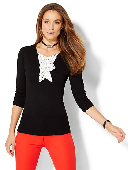 7th Avenue Design Studio - Tie-Neck Twofer Sweater - Dot Print - New York & Company