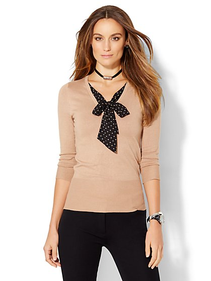 7th Avenue Design Studio - Tie-Neck Twofer Sweater - Dot Print - New York & Company