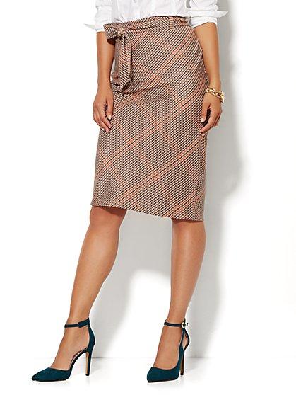 7th Avenue Design Studio - Tie-Waist Skirt - Plaid - New York & Company