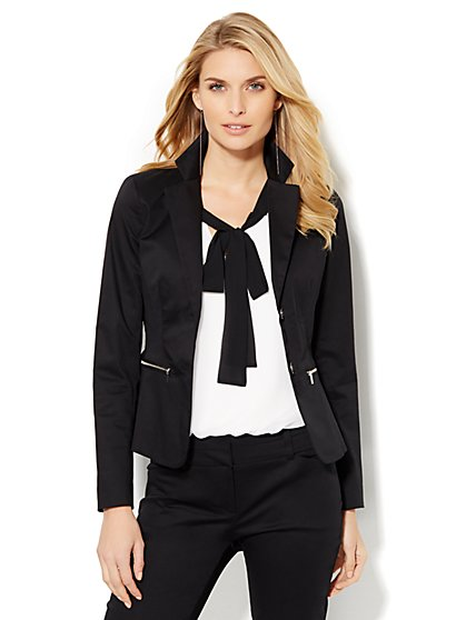 7th Avenue Design Studio Two-Button Jacket - Modern Fit - Black - Petite  - New York & Company