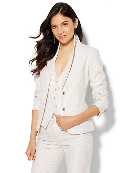 7th Avenue Design Studio Two-Button Jacket - Modern Fit - Driftwood Stripe  - New York & Company