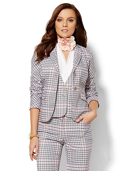 7th Avenue Design Studio Two-Button Jacket - Modern Fit - Plaid  - New York & Company