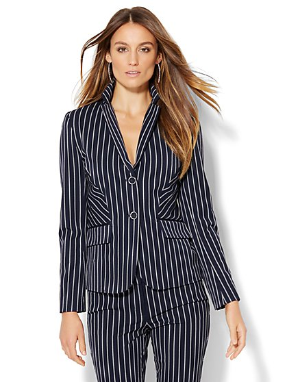 7th Avenue Design Studio - Two-Button Jacket - Signature Fit - Navy Pinstripe - Tall  - New York & Company