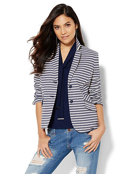 7th Avenue Design Studio Two-Button Jacket - Signature Fit - Stripe   - New York & Company