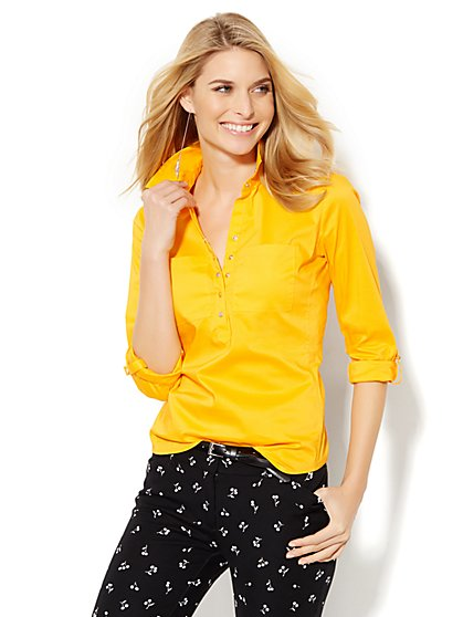 7th Avenue Design Studio Two-Pocket Madison Shirt - Petite  - New York & Company