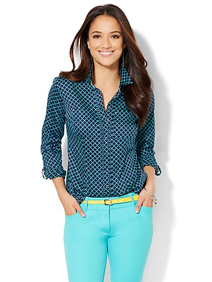 7th Avenue Design Studio - Two-Pocket Madison Shirt - Print - Petite  - New York & Company