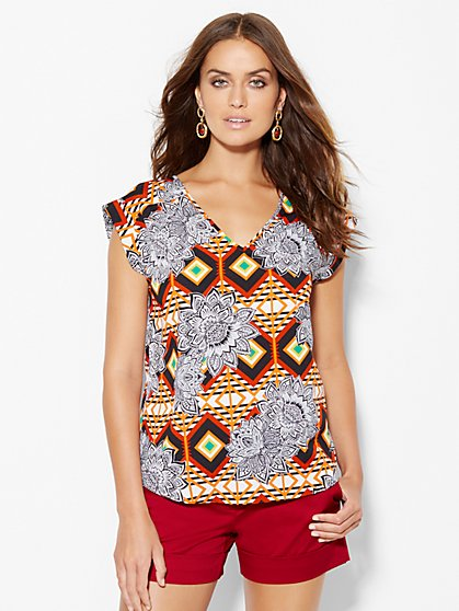 7th Avenue Design Studio - V-Neck Blouse - Graphic & Floral Print  - New York & Company