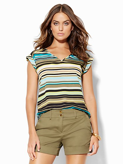 7th Avenue Design Studio - V-Neck Blouse - Stripe  - New York & Company