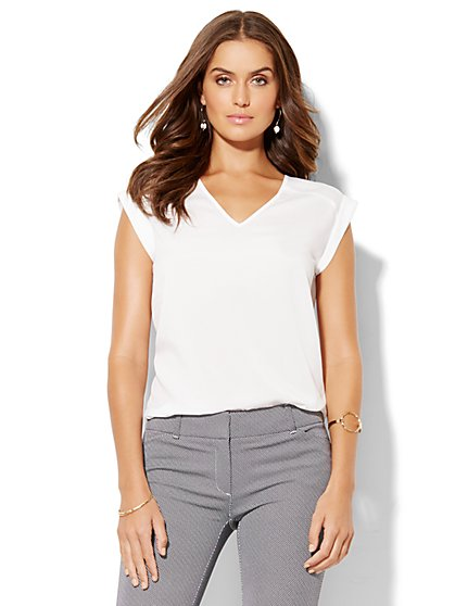 7th Avenue Design Studio - V-Neck Blouse  - New York & Company