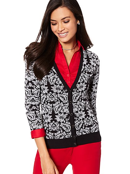 7th Avenue Design Studio - V-Neck Chelsea Cardigan - Lurex Jacquard - New York & Company