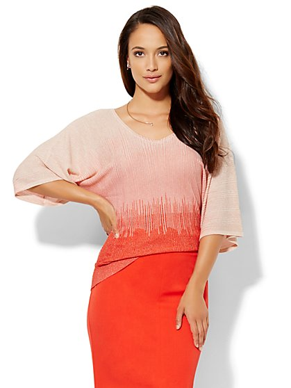 7th Avenue Design Studio - V-Neck Dolman Sweater - Ombré  - New York & Company