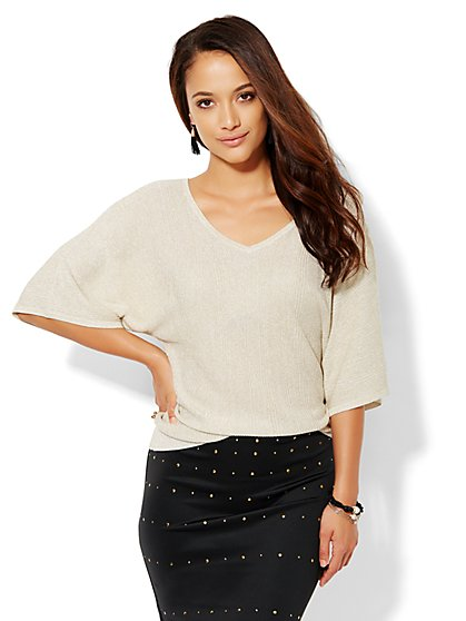 7th Avenue Design Studio - V-Neck Dolman Sweater - Solid  - New York & Company