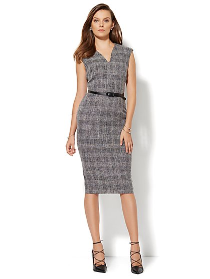 7th Avenue Design Studio V-Neck Sheath Dress - Black Plaid - Petite - New York & Company