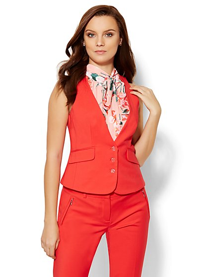 7th Avenue Design Studio Vest - Modern Fit - Fireworks Red  - New York & Company