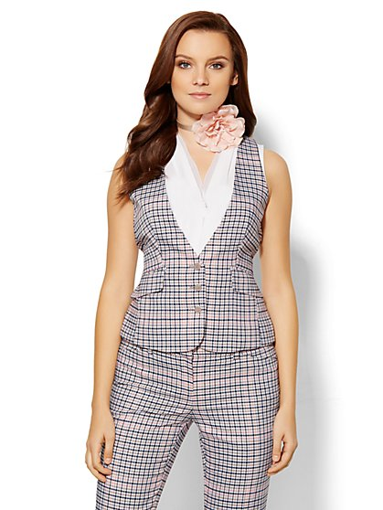 7th Avenue Design Studio Vest - Modern Fit - Plaid  - New York & Company