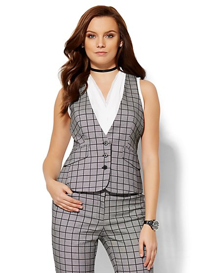 7th Avenue Design Studio Vest - Plaid - New York & Company