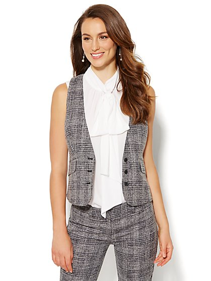 7th Avenue Design Studio Vest - Signature Fit - Black Plaid - New York & Company