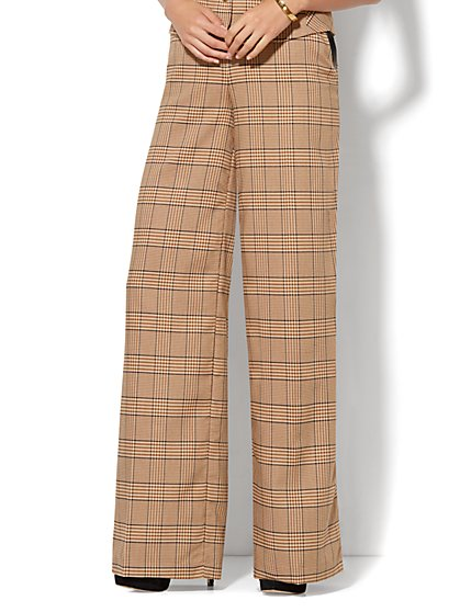 7th Avenue Design Studio - Wide-Leg Pant - Khaki Plaid  - New York & Company