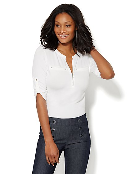 7th Avenue Design Studio - Zip-Front Banded-Collar Top - Paper White  - New York & Company