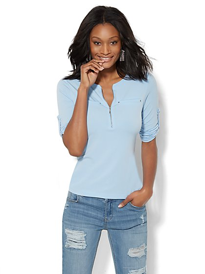 7th Avenue Design Studio - Zip-Front Banded-Collar Top - Solid  - New York & Company