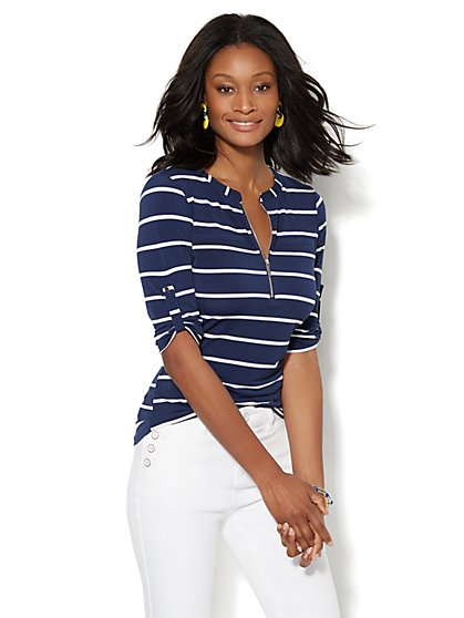 7th Avenue Design Studio - Zip-Front Banded-Collar Top - Stripe  - New York & Company