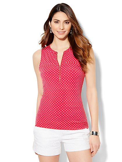 7th Avenue Design Studio - Zip-Front Shell - Polka Dot  - New York & Company