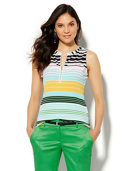 7th Avenue Design Studio - Zip-Front Shell - Stripe  - New York & Company