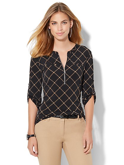 7th Avenue Design Studio - Zip-Front Top - Linear Print  - New York & Company