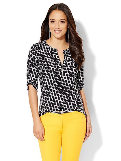 7th Avenue Design Studio - Zip-Front Top - Print  - New York & Company