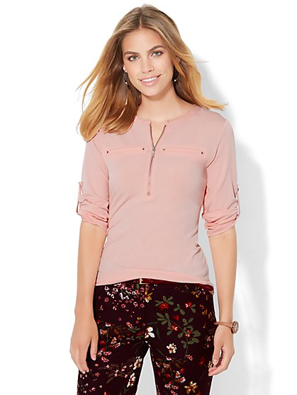 7th Avenue Design Studio - Zip-Front Top  - New York & Company