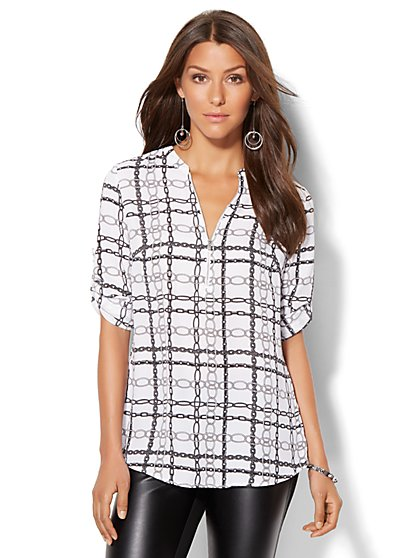7th Avenue Design Studio - Zip-Front Tunic - White - Print  - New York & Company